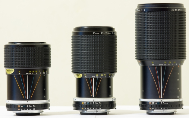 From left to right: 36-72mm f/3.5, 75-150mm f/3.5, 70-210mm f/4