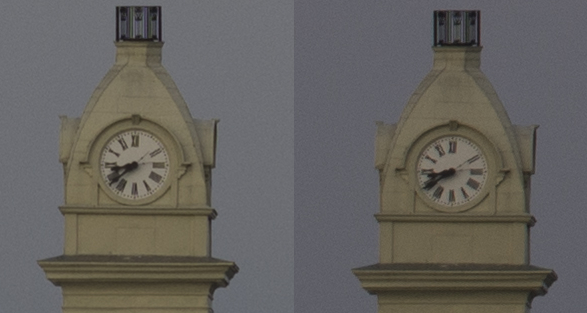 Left: Center at f/5.6 Right: Corner at f/8